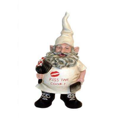"8.5 in. H Chef Gnome with Cooking ""Kiss the Cook"" Apron Figurine Statue"