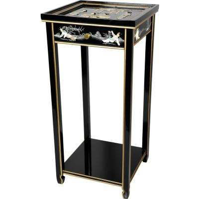 Oriental Furniture 14 in. Lacquer Ladies Oriental Pedestal in Black