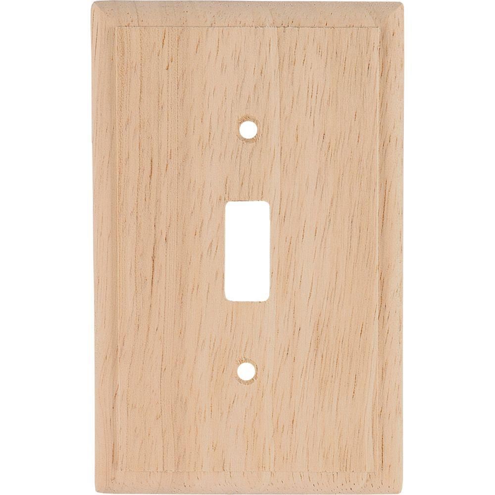 GE 1 Toggle Switch Wall Plate - Un-Finished Solid Oak