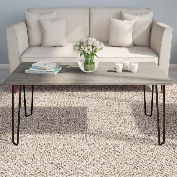 Modern Woodgrain Industrial Style Coffee Table with Hairpin Legs