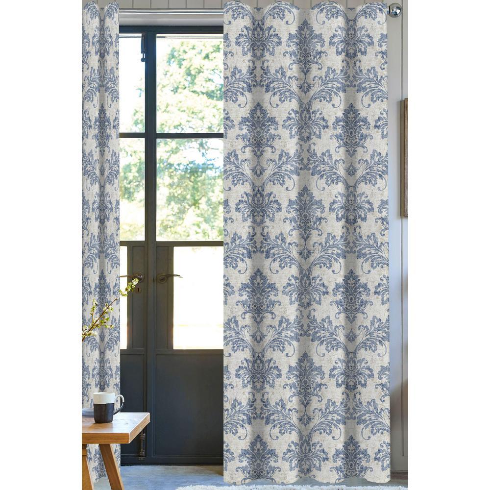 50 in. W x 96 in. L Cara Designer Organic Cotton Damask Drapery in Blue/White