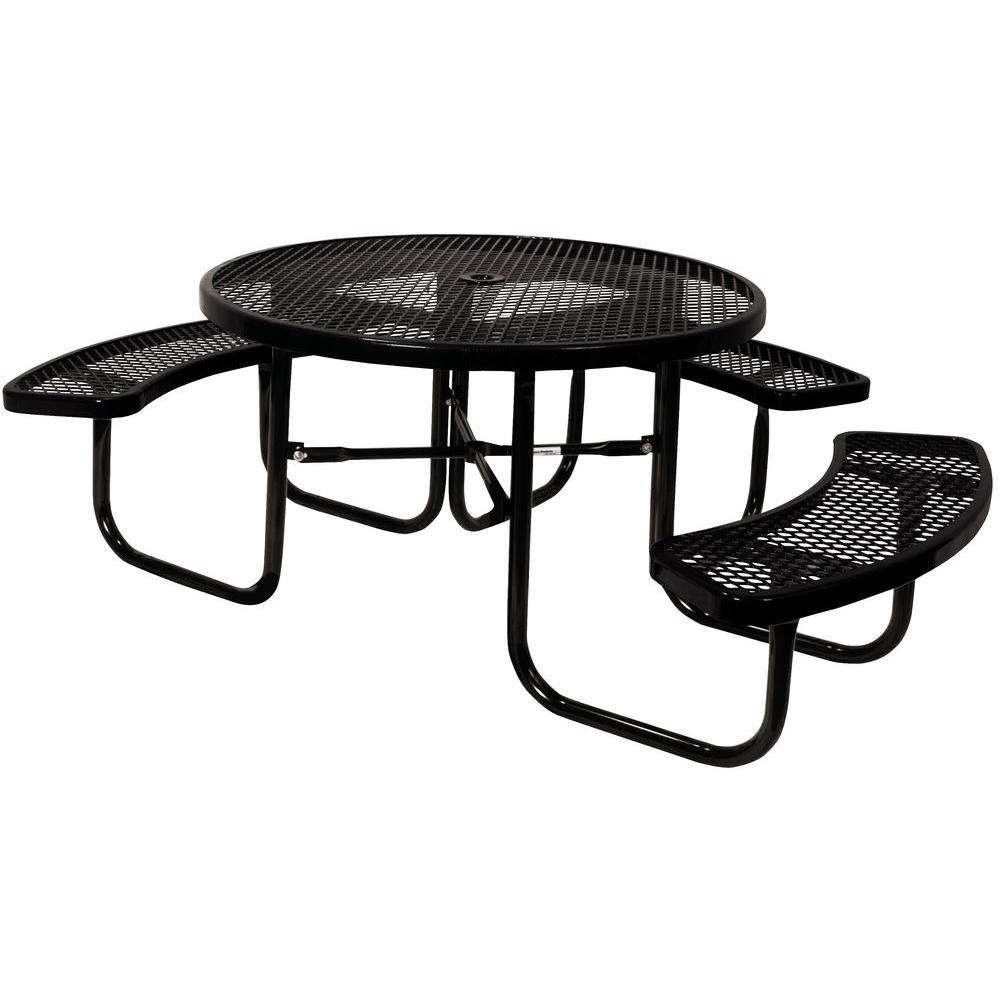Portable Black Diamond Commercial Park 46 in. Round Top ADA Picnic