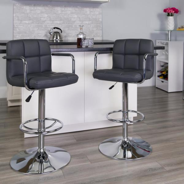 Flash Furniture 33.25 in. Adjustable Height Gray Cushioned Bar Stool CH102029GY