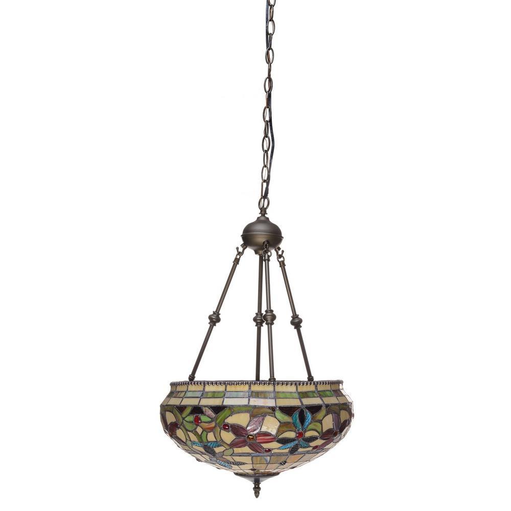 Tiffany 2-Light Bronze Center Bowl Pendant with Art Glass Shade