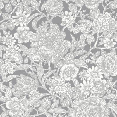 56.4 sq. ft. Hedgerow Grey Floral Trails Wallpaper