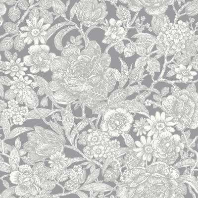 8 in. x 10 in. Hedgerow Grey Floral Trails Sample