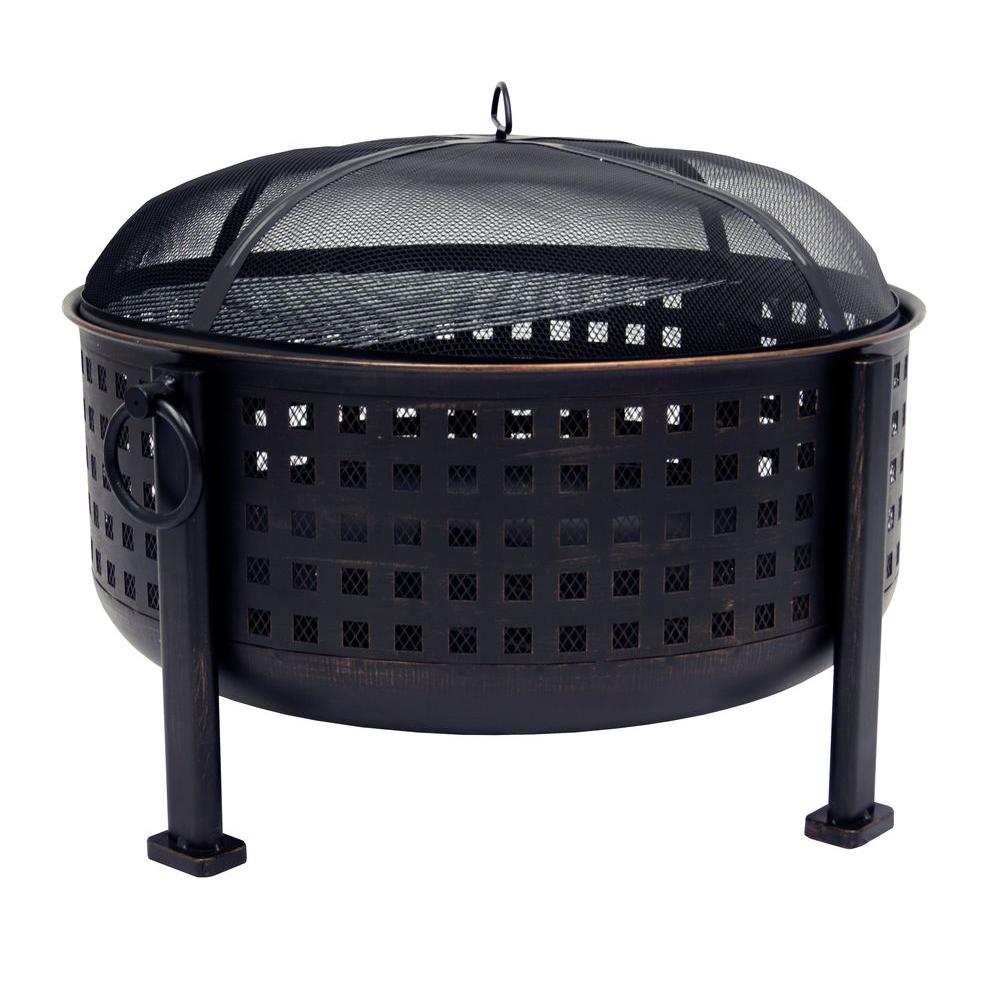 Pleasant Hearth Langston 30 in. Round Deep Bowl Steel Fire Pit in Rubbed Bronze