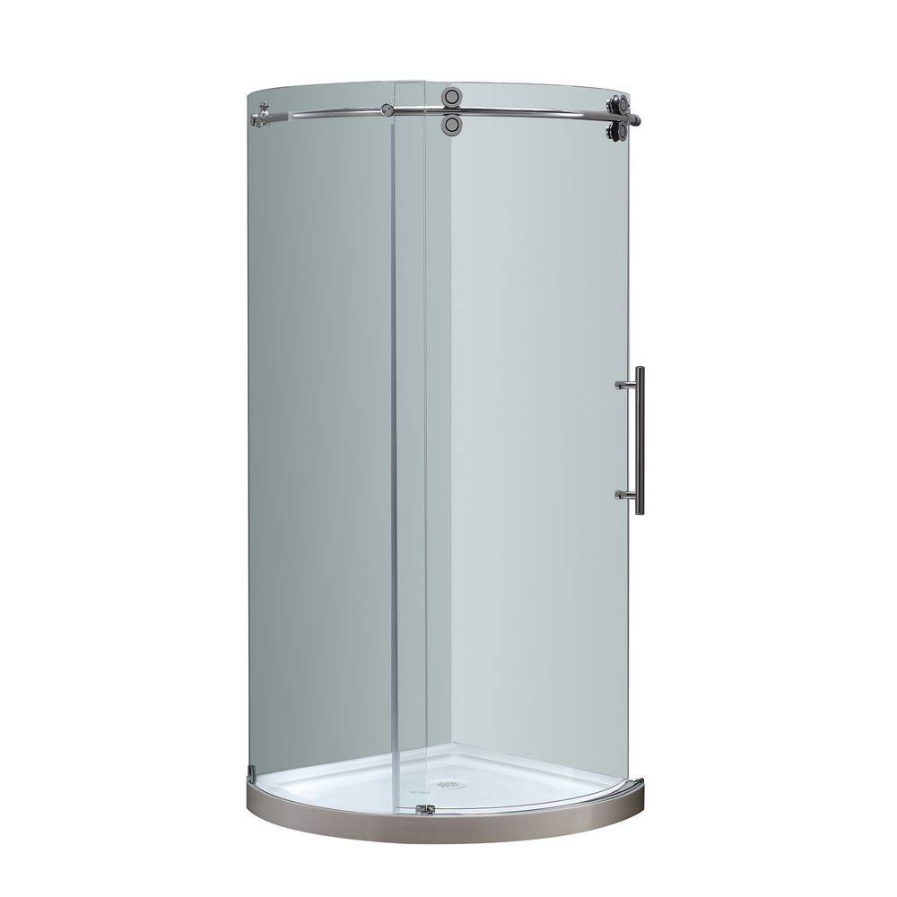 VIGO Sanibel 40.5 in. x 79.5 in. Frameless Bypass Round Shower ...