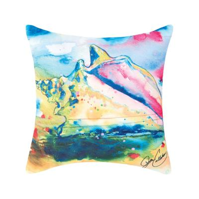 Blue Conch Shell Indoor/Outdoor 18 in. x 18 in. Standard Throw Pillow