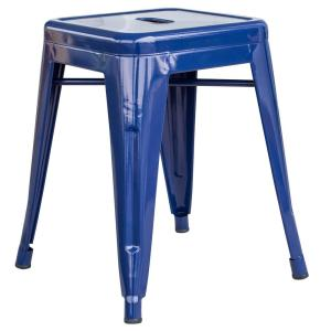 Loft Style 18 in. Blue Stackable Metal Bar Stool