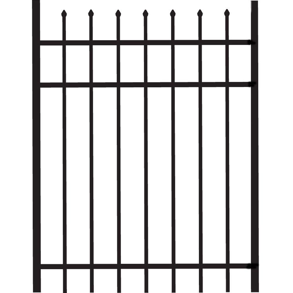 Veranda Cascade Standard-Duty 3 ft. W x 4 ft. H Black Aluminum Straight Pre-Assembled Fence Gate
