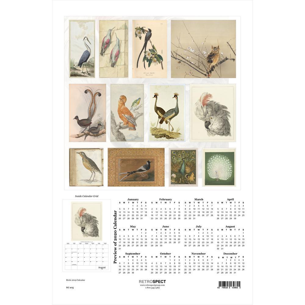 19 in. H x 12.5 in. W Birds - 2019 Calendar