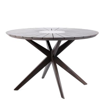 Oasis Earth Eucalyptus Wood Round Outdoor Patio Dining Table with Gray Super Stone Center