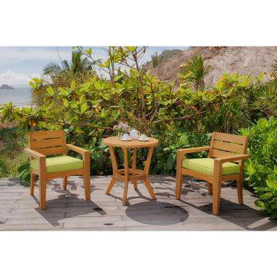 Eucalyptus 3-Piece Wood Outdoor Bistro Set with Green Cushions