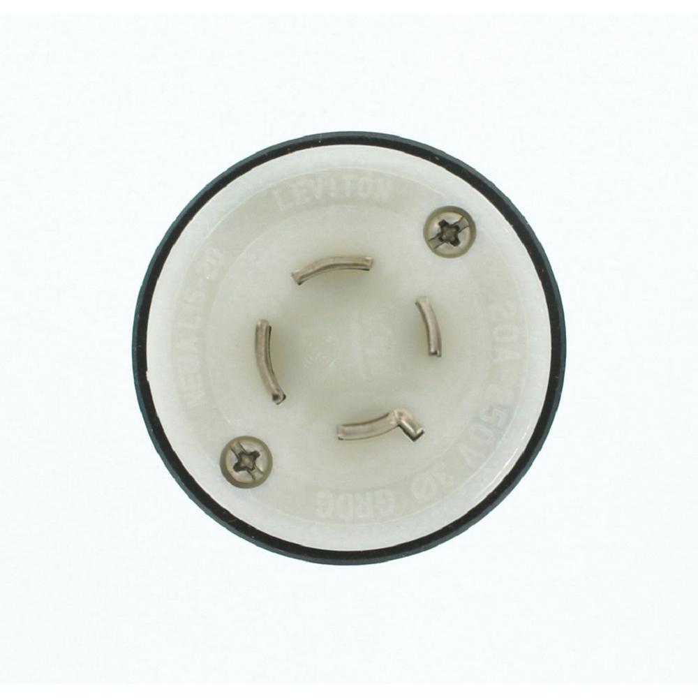 20 Amp 250-Volt 3-Phase Wetguard Locking Grounding Plug, Black/White