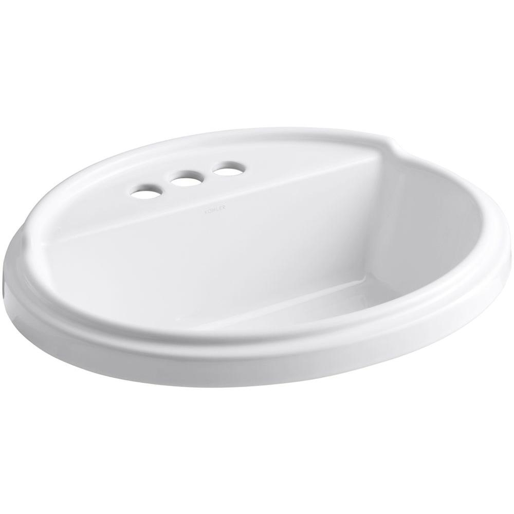 KOHLER Tresham Drop-In Vitreous China Bathroom Sink in White with Overflow Drain