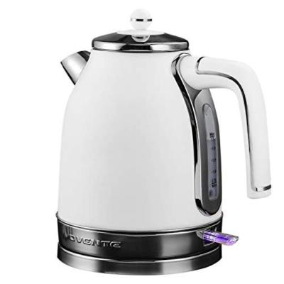 7-Cup White Electric Kettle Stainless Steel Removable Anti Scale Filter Centered Water Gauge