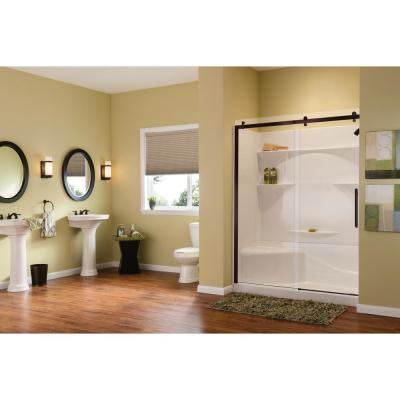 Alpine 56.5 in. - 59 in. x 75 in. Frameless Sliding Shower Door in Dark Bronze