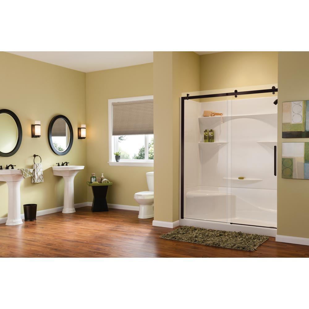 Alpine 56.5 in. - 59 in. x 75 in. Frameless Sliding Shower Door in Dark Bronze