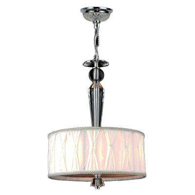 Gatsby 3-Light Polished Chrome and Clear Crystal Chandelier with Fabric Shade