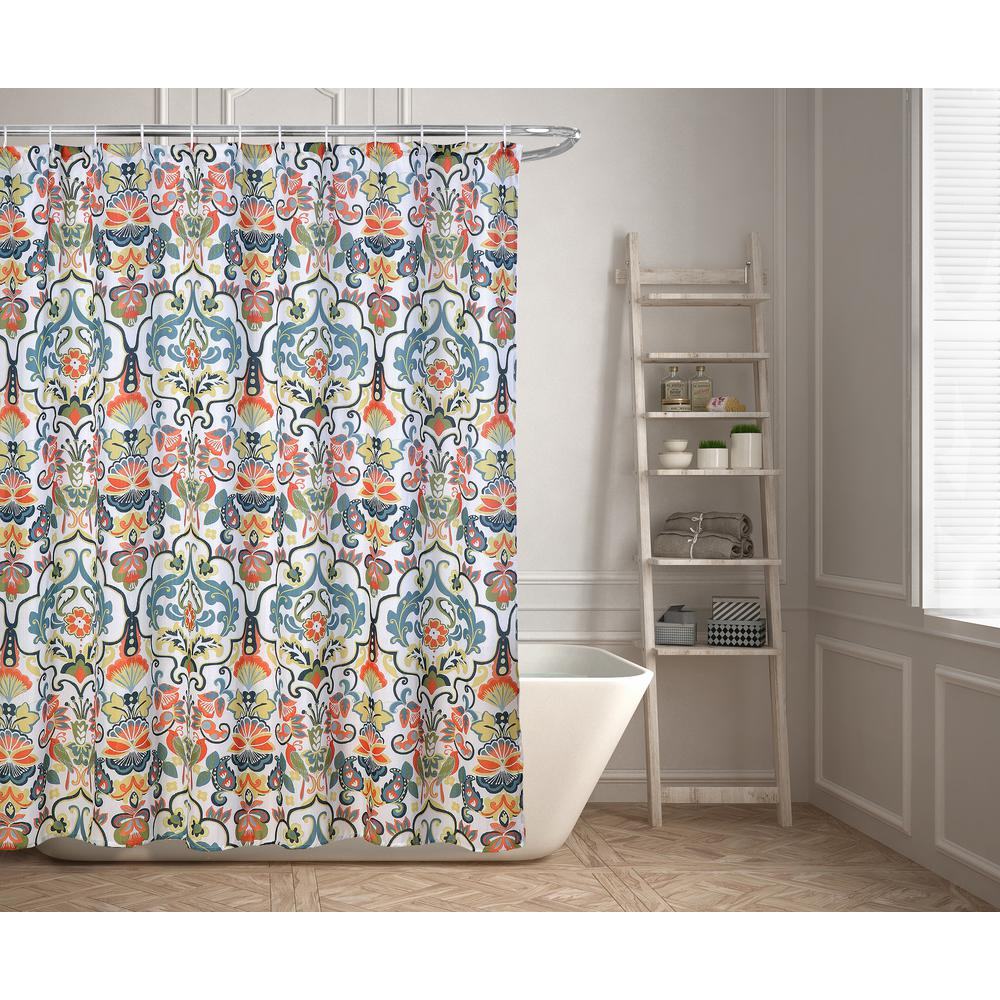 Kashi Home Emery 70 In Floral Ikat Shower Curtain SC045415