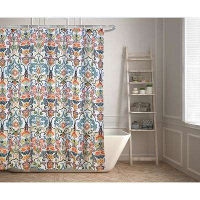 Emery 70 in. Floral Ikat Shower Curtain