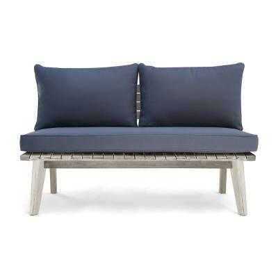 Balmoral Weathered Grey Wood Outdoor Loveseat with Grey Cushion