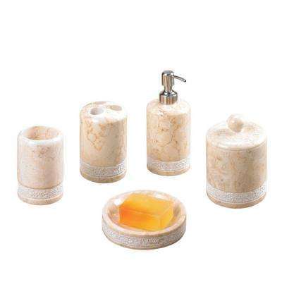 Spa Hand Carved 5-Piece Bath Set in Champagne Polished Marble