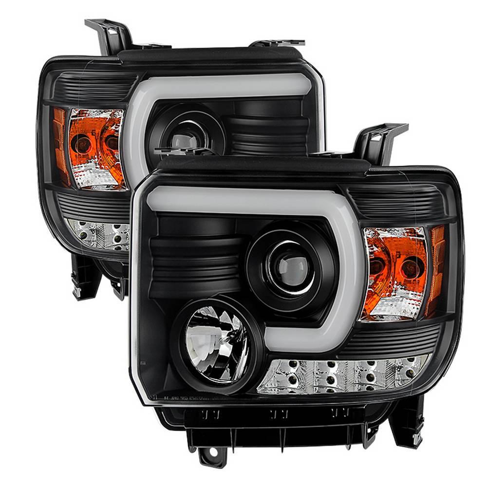 GMC Sierra 1500/2500HD/3500HD 14-15 (compatible on models w/factory LED ) Projector Headlights - Light Bar DRL - Black