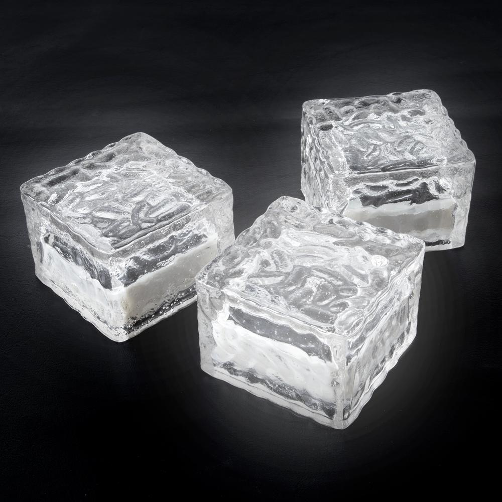 Clear Outdoor Integrated LED Landscape Path Solar Powered Ice Cube Rock