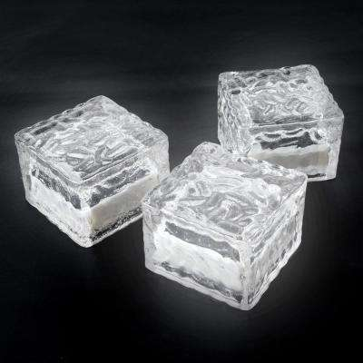 Clear Outdoor Integrated LED Landscape Path Solar Powered Ice Cube Rock Lights (3-Pack)