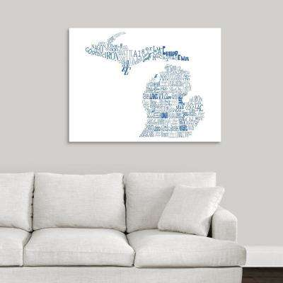 """""""Michigan Typography map"""" by Jace Grey Canvas Wall Art"""