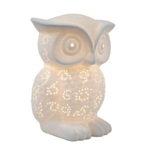 Simple Designs Animal Love 9.84 inch White Porcelain Wise Owl Shaped Table Lamp by Simple Designs