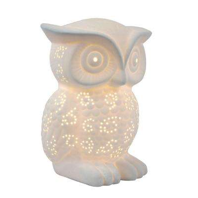 Animal Love 9.84 in. White Porcelain Wise Owl Shaped Table Lamp