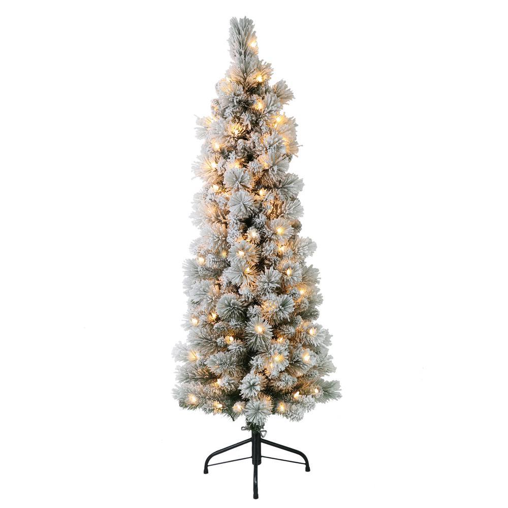 Portland Christmas Tree.Puleo International 4 5 Ft Pre Lit Flocked Portland Pencil Artificial Christmas Tree With 100 Ul Listed Clear Lights