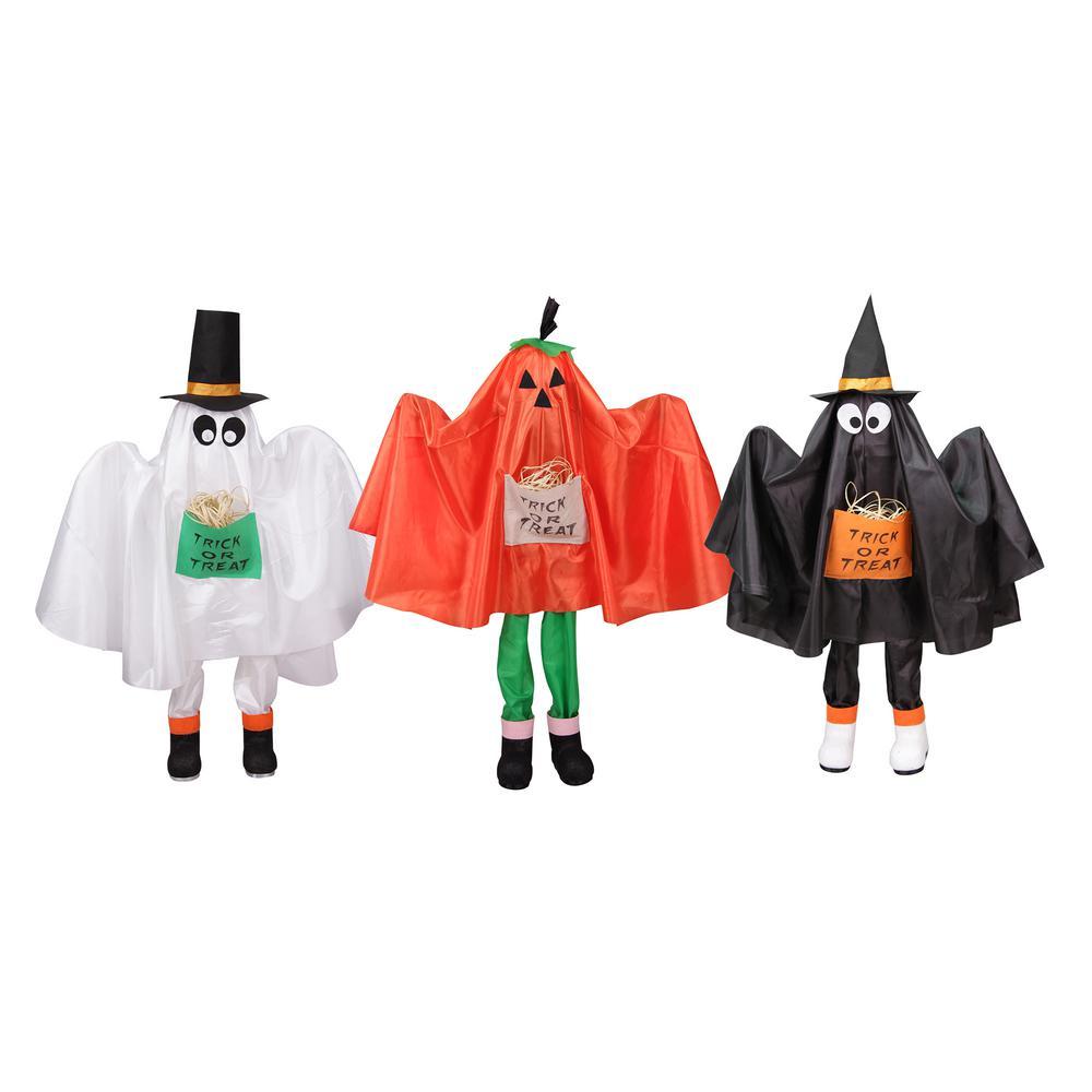 36 in. Ghost Pumpkin and Bat Standing Halloween Kid Figures (Set of 3)