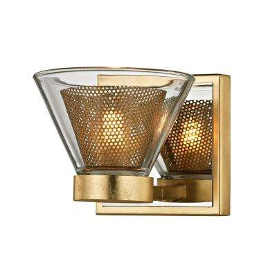 Wink 1-Light Gold Leaf 5.25 in. W LED Bath Light with Polished Chrome Accents and Clear Glass Shade