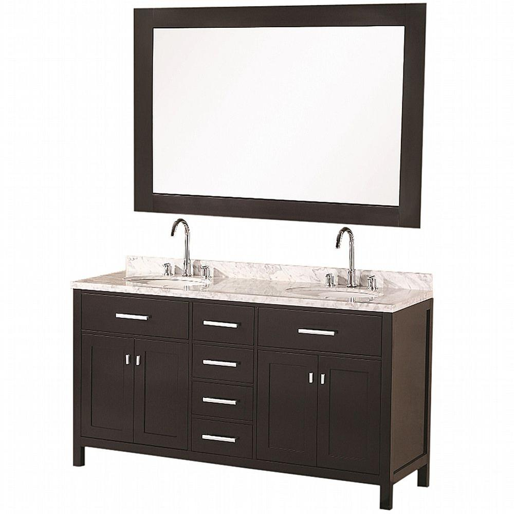 Design Element London 61 in. W x 22 in. D Vanity in Espresso with