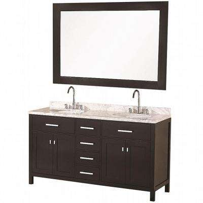 London 61 in. W x 22 in. D Vanity in Espresso with Marble Vanity Top and Mirror in Carrera White