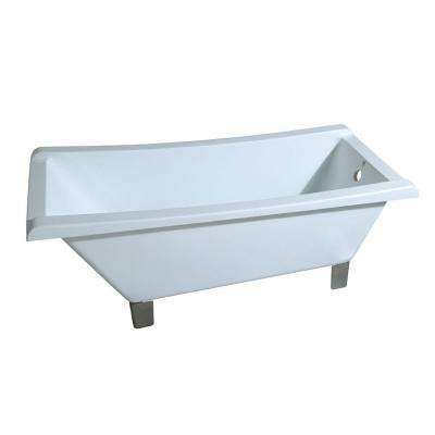 Modern 5.6 ft. Acrylic Slipper Clawfoot Non-Whirlpool Bathtub in White with Square Feet in Satin Nickel