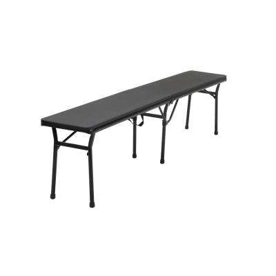 73 in. Black Plastic Portable Folding Banquet Table (Set of 2)