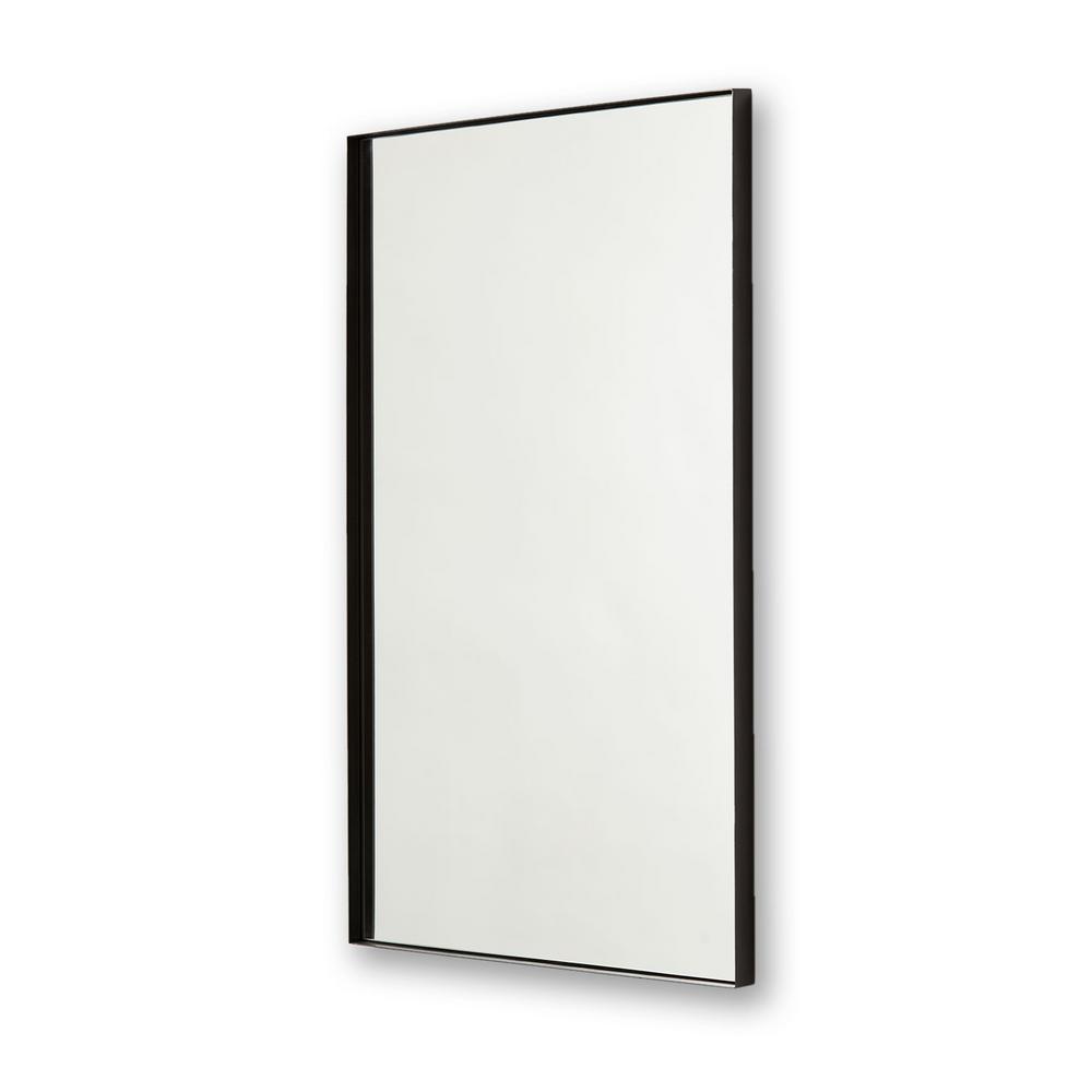 24 in. W x 36 in. H Framed Rectangular Bathroom Vanity Mirror in Satin Black
