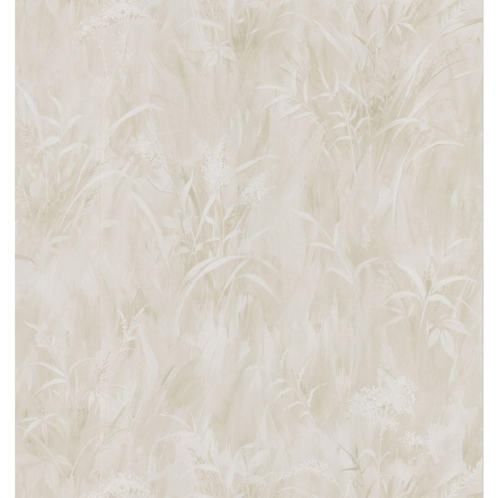Brewster Simple Space Light Taupe Washy Leaf Print Wallpaper Sample