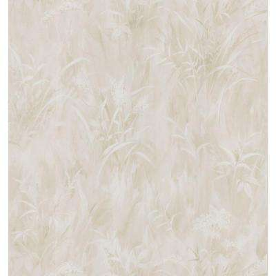 Simple Space Light Taupe Washy Leaf Print Wallpaper Sample