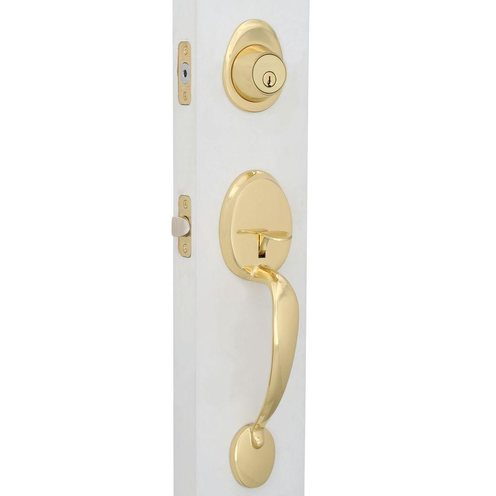 Defiant Wilmington Polished Brass Entry Door Handleset S7781   The Home  Depot