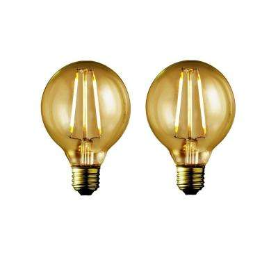 40W Equivalent Warm White G25 Amber Lens Vintage Globe Dimmable LED Light Bulb (2-Pack)
