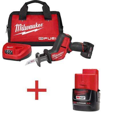 M12 FUEL 12-Volt Lithium-Ion Cordless HACKZALL Reciprocating Saw Kit with Free M12 Lithium-Ion 2.0Ah Compact Battery