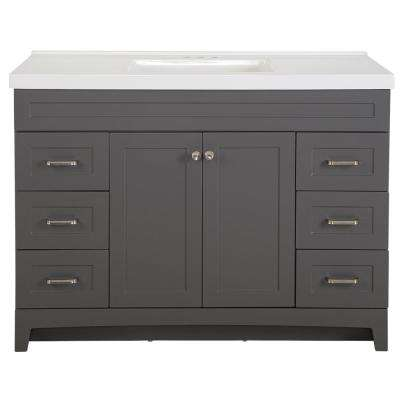 Thornbriar 49 in. W x 22 in. D x 37 in. H Bath Vanity in Cement w/ Cultured Marble Vanity Top in White w/ White Sink