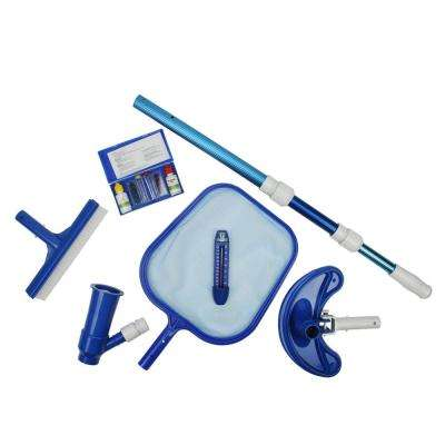 Deluxe Swimming Pool Kit - Vacuum Pole Thermometer Test Kit Skimmer and Brush (6-Piece)