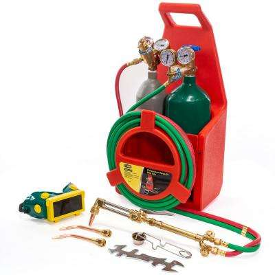 Portable Welding Torch Kit with Oxygen and Acetylene Tanks and 3/16 in. x 12 ft. Hose, Cut Weld Braze or Form